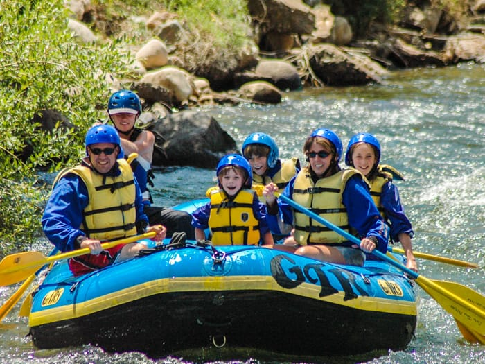 Family rafting on the Clear Creek River