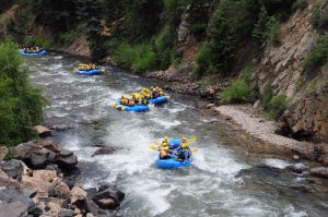 rafting boats on clear creek river